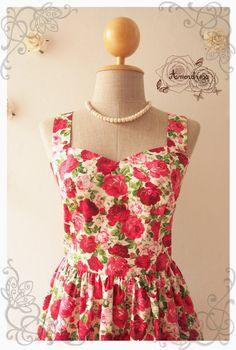 FLORAL AMOR  Rose floral dress / floral bridesmaid by Amordress, $45.00