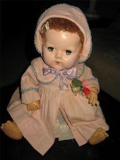"Vintage Effanbee 15"" DY Dee Baby Doll w Original Clothes Caracul Hair"