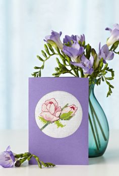 Lesley Teare's sweet extra flower motif is perfect for a card - get the chart as a free download from our blog!