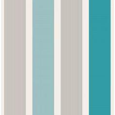 Fine Decor Mangum Striped Wallpaper Teal / Silver / White