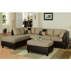 Microfibre - Faux Leather Lounge Suite With Ottoman, Hazelnut (Left)