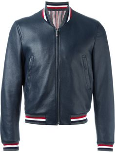 Thom Browne striped trim bomber jacket