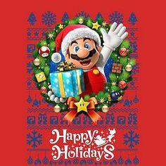 Nintendo Super Mario Happy Holidays Mario Women& Christmas T-Shirt - Red - XXL - Red-female Christmas Cartoon Characters, Christmas Cartoons, Mario Bros., Mario And Luigi, Christmas Paper Crafts, Christmas Time, Xmas, Super Mario Bros Nintendo, Buy Nintendo