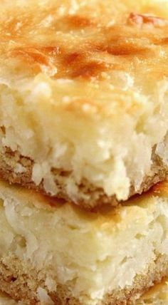Coconut Cheesecake Bars recipe - the best coconut cheesecake bars I have ever had! Creamy, sweet, perfect amount of coconut in every bite, no crumbly crust - these cheesecake bars are one of the best I've ever made. 13 Desserts, Coconut Desserts, Cookie Desserts, Cookie Recipes, Delicious Desserts, Dessert Recipes, Bar Recipes, Recipies, Coconut Cookies