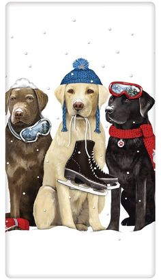 Winter Retriever Trio Dog Cotton Flour Sack Dish Tea Towel - Mary Lake Thompson x Christmas Animals, Christmas Dog, Merry Christmas, Silvester Trip, Dog Lover Gifts, Dog Lovers, I Love Dogs, Cute Dogs, Animals And Pets
