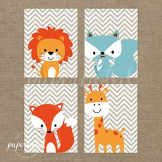 Animal Wall Prints 8x10 // Nursery Wall Prints // Kids Wall Prints // Woodland // DIY Printables on Etsy, $8.50