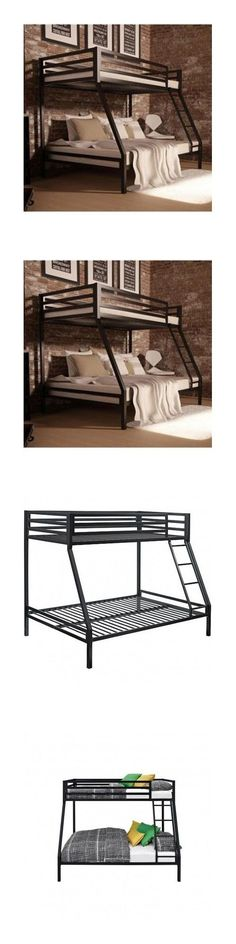 Kids Furniture: Bunk Beds With Twin Over Full Black Metal Bedroom Furniture Kids Boys Ladder New BUY IT NOW ONLY: $249.95