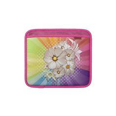 #sleeves #ipadsleeves #zazzle #elenaindolfi Rainbow Stripes and Flowers Ipad Sleeve by elenaind