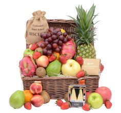 The tea time hamper is suitable for whole family enjoy. Fruit Hampers, Gift Hampers, Beautiful Fruits, Cookie Gifts, Large Baskets, Tea Time, Blueberry, Apple, Baking