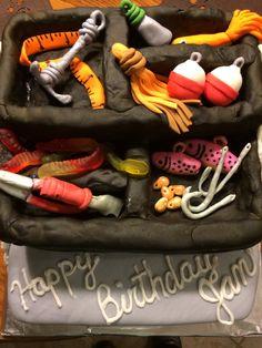 Tackle box cake Tackle Box, Box Cake, Homemade, Leather, Boxed Cake, Home Made, Hand Made