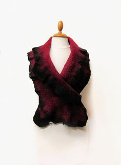 Red and black scarf hand felted with merino by GabardineCouture, 88.00
