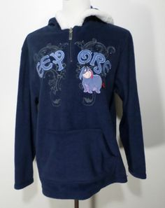 DISNEY Women's Blue Fleece Hoodie Eeyore Sweater Size L #Disney #Hoodie