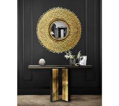 Black Interior Design, Interior Design Inspiration, Home Decor Inspiration, Living Room Trends, Living Room Designs, Living Room Decor, Luxury Furniture, Furniture Design, Luxury Mirror