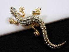 Vintage Clear Rhinestone Salamander Lizard Brooch Pin w/ Green Eyes So Sparkly! $24.00 SOLD