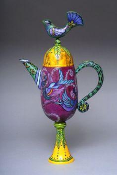 Jay & Janet O'Rourke  Bluebird Tea, 2011  Wood, Pigment, Colored Pencil, Rhinestones