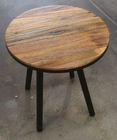 Recycled hardwood industrial round side table made by recycledtimberfurnitureoz.com