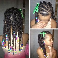 Side Twists with Bows and Beads