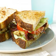 Shrimp BLT with Pesto Mayo. Shrimp and a pesto mayonnaise spread are added to the traditional bacon, lettuce, and tomato sandwich. Purchase deveined shrimp to keep the preparation time at less than 30 minutes for this recipe.