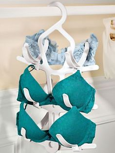 Prevent bra cups from being crushed and straps from being stretched during laundering and storage | Solutions.com #LingerieSaver #BraHanger