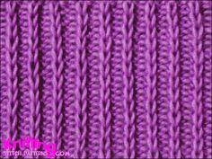 Slip Stitch Rib - easy and fun stitch to knit www. Slip Stitch Rib - easy and fun stitch to knit www. Knitting Stitches Basic, Rib Stitch Knitting, Knitting Basics, Lace Knitting, Knitting Patterns Free, Knit Patterns, Stitch Patterns, Rib Knit, Slip Stitch