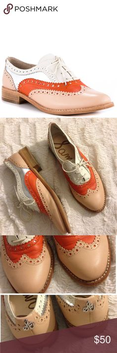 Sam Edelman Jerome Peach Melba Oxfords Jazz your outfit up with this show stopping oxford from Sam Edelman. The Jerome features a soft leather upper with a variety of peach, coral, white and silver shades. A lace up vamp and slight 3/4 inch heel completes this trendsetting number. Leather Upper / still in great condition! Sam Edelman Shoes Flats & Loafers