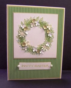 Easter Wreath by hobbydujour - Cards and Paper Crafts at Splitcoaststampers - handmade card … Easter Wreath by hobbydujour … green and white … stamped foliage & little p - Handmade Birthday Cards, Greeting Cards Handmade, Holiday Cards, Christmas Cards, Christmas Greetings, Birthday Greetings, Happy Birthday, Diy Easter Cards, Memory Box Cards