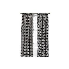 Threshold Farrah Fretwork Curtain Panel - Black ($25) ❤ liked on Polyvore featuring home, home decor, window treatments, curtains, black home decor, black window treatments, black curtains, black patterned curtains e patterned curtain panels