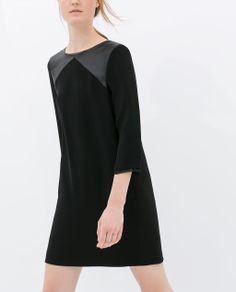 FAUX LEATHER COMBINATION TUNIC DRESS from Zara