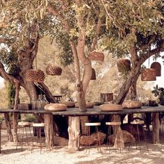 La Granja is embedded in the beetle-dry pine forest in the hills way above San Antonio in Ibiza – the island which is surprisingly dreamy… Rustic Outdoor Spaces, Outdoor Cafe, Deco Boheme Chic, Cafe Seating, Boho Chic Living Room, Deco Nature, Pine Forest, Spanish House, Spanish Garden