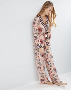 ASOS PREMIUM Mixed Floral   Tile Print Satin Kimono and Long Leg Pant Set c55de03f1