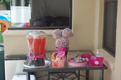 minnie mouse b'day party. With hot diggity dogs (pigs in a blanket), minnie/mickey mouse cheese and fruit salad.