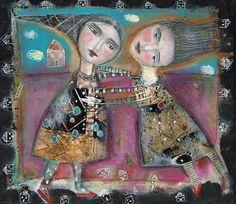 Amis expressif de collage technique mixte peinture par kittyjujube, $60.00