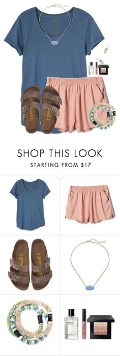 """~flowy~"" by flroasburn ❤ liked on Polyvore featuring RVCA, Birkenstock, Kendra Scott, Bobbi Brown Cosmetics and J.Crew"