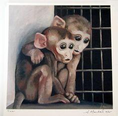 "Signed ""Fear"" print.  Animal liberation art."
