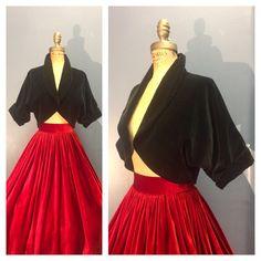 BAD GIRL SEXY 1950's Vintage 1950s Midnight Black Cotton Velvet Cropped Bolero Cocktail Jacket Shrug Shawl Collar Cuffed Dolman Sleeve S M L by ChickaBoomVintage on Etsy