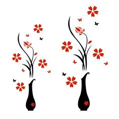 Wall Stickers Acrylic 3D Plum Flower Vase Wall Stickers Home Decor
