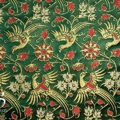 14th century, Brocade Italy, Green and Gold