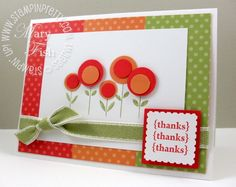 handmade card ... lollypop flowers in red and orange with stamped stemps ...pretty card ... Stampin' Up!