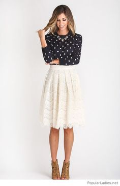 Polka dot blouse, lace midi skirt and some details