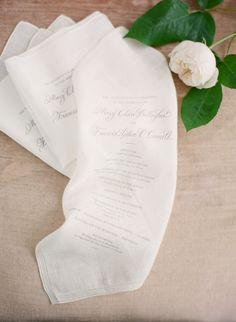 Photo courtesy of Style Me Pretty - Wedding programs printed on handkerchiefs Wedding Program Examples, Wedding Programs, Wedding Ceremony, Beach Ceremony, Plan Your Wedding, Wedding Planning, Dream Wedding, Wedding Hire, Wedding Dresses