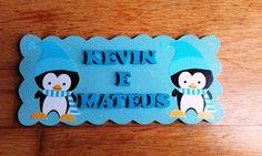 """RIBARTES: Placa de porta """"Pinguins fofinhos"""""""