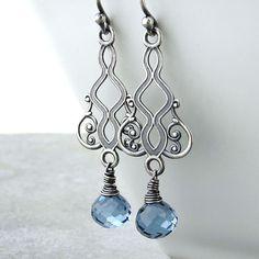 Moroccan Dreams Earrings in Blue Quartz and Sterling Silver Earrings Blue Drop Earrings Long by JenniferCasady