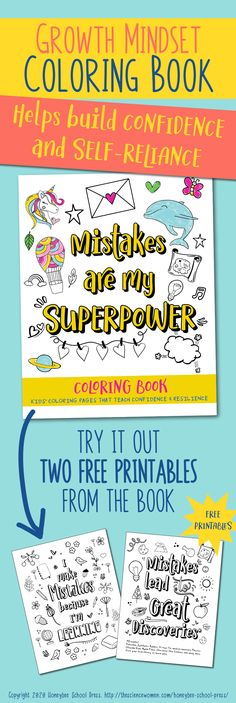 "A coloring book for confidence and self-reliance Mistakes Are My Superpower is our newest ""growth mindset"" publication. It teaches kids that making mistakes is okay, and that they shoul… Little Free Libraries, Free Library, Library Ideas, Positive Outlook, Positive Mindset, Positive Affirmations, Coloring For Kids, Coloring Pages For Kids, Coloring Books"