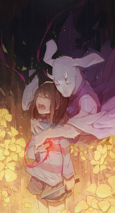 Frisk and Toriel #crying #hug #duo