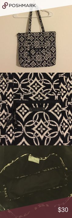 Vera Bradey quilted black and white tote purse Cute tote bag can be used as overnight bag shopping bag ,purse or diaper bag measures APROX 12x13 inches carried a few times in great condition. Fully lined and 6 pockets inside. 12 inch drop shoulder strap Vera Bradley Bags Shoulder Bags