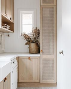 """GSiD   Georgie Shepherd on Instagram: """"Stanley House   The soft timber and rattan continues alongside terrazzo flooring, creating a calm, textural laundry space. Built by…"""" Terrazzo Flooring, Laundry Room Design, The Design Files, Home Decor Inspiration, Home Kitchens, Sweet Home, House Design, Interior Design, Country Style"""