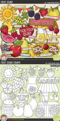 Summer lemonade stand digital scrapbooking elements | Cute fruit clip art | Hand-drawn doodles for digital scrapbooking, crafting and teaching resources from Kate Hadfield Designs! Click to see projects created using these illustrations!