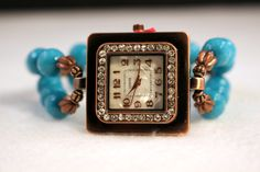 SHOW STOPPER Ladies Watch, Turquoise Watch, Boho Watch, Bohemian by jewelrysldesigns on Etsy