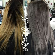 Next we have our new client Laura! She had jet black regrowth with very damaged and porous brassy ends. Carefully with the big help of @olaplex @olaplexau we did a full head of micro foils to lift up her base then glazed the mids-ends with a steel grey glaze. 😍😍 finished off with OLAPLEX #2 treatment and hair felt brand new again!! 💗💗 #classycuts #guytang #greyhair #grannyhair #grannyhairtrend #ombre #olaplex #olaplexau #blondeasianhair #asianblondehair #balayage #blondehair #blonde…
