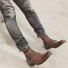 - S W A T H M O R E - Drum Dye Brown #hudsonshoes #hudsonlondon #footwear #menswear #menstyle #denim